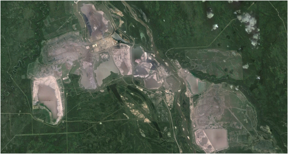Aerial view of the oil sands operation in the Alberta Province of Canada.