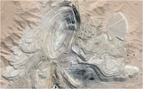 The Chuquicamata copper mine in northern Chile.  The field of view is approximately 7 miles across (Google Earth).